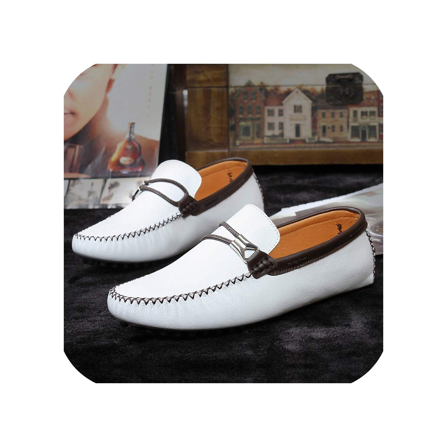 White Leather Peas shoes Simple Men's Casual shoes Trend Casual Driving Lazy shoes