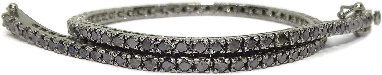 Never Say Never Pulsera Tipo Riviere de Diamantes y Oro de 18k con Diamantes Champán en Oro Rosa de 18k o con Diamantes Negros en Oro Blanco de 18k. para Hombre o Mujer. 19.50cm de Larga
