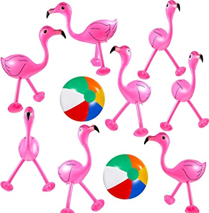 Amazon Com Trounistro 10 Pack Inflatable Toys Flamingo Inflatable Beach Balls For Hawaiian Party Luau Party Favors Accessories Toys Games