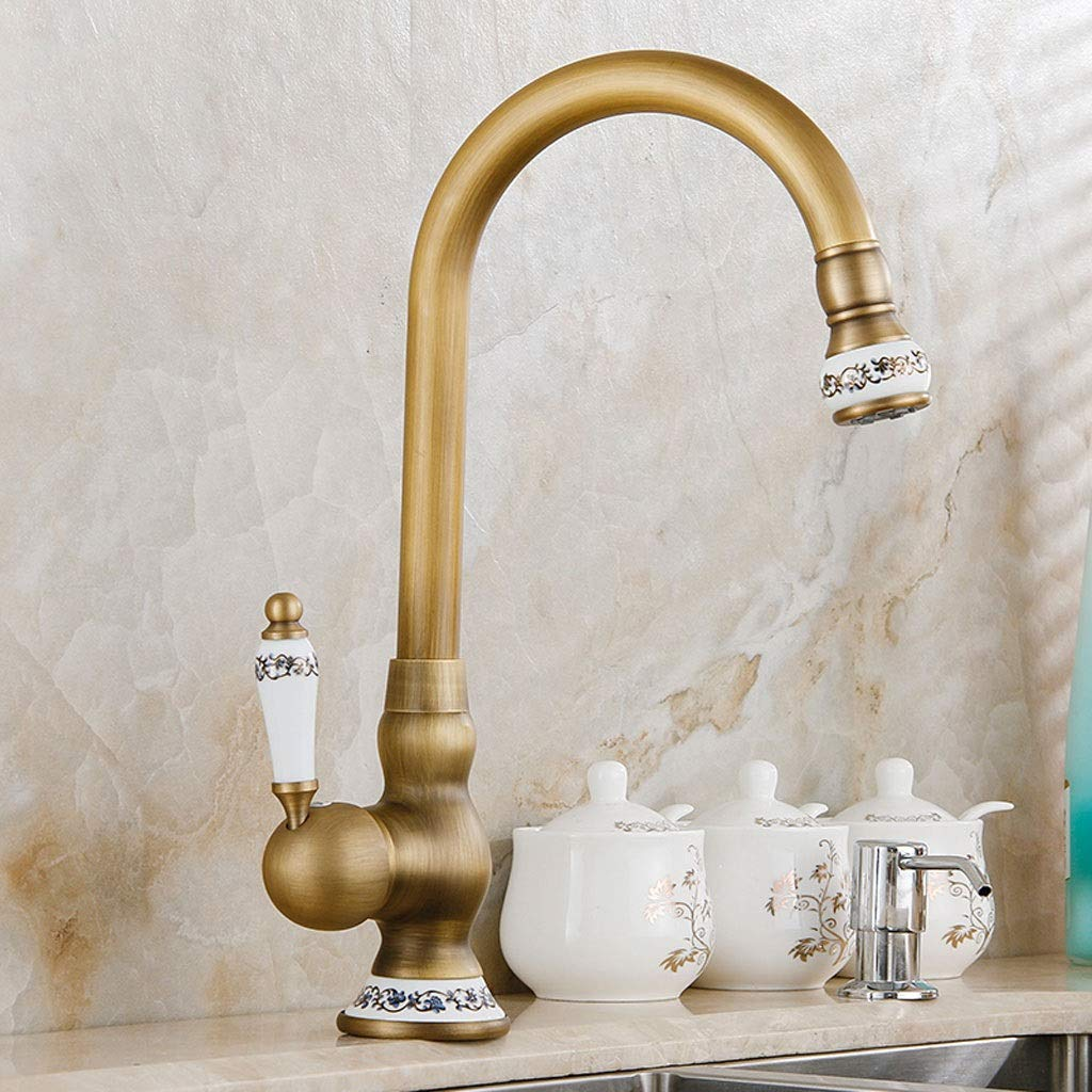 ZQG redating European Sink Faucet, Antique Hot Cold Kitchen Sink Faucet Faucet