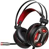 ゲーミングヘッドセット pc ヘッドセット ps4ヘッドセット ps4ヘッドホン Todamay GT01 騒音抑制ケーブル付き マイク付きマイク位置360度調整眩いレッドLED伸縮ヘッドアーム PC/PS4/などに対応 fps 対応 男女兼用