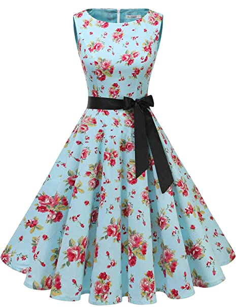Gardenwed Women\u0027s Audrey Hepburn Rockabilly Vintage Dress 1950s Retro  Cocktail Swing Party Dress