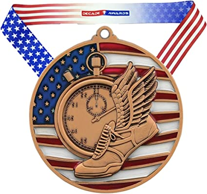 Flag Running Track Athletics Trophy Free Engraving