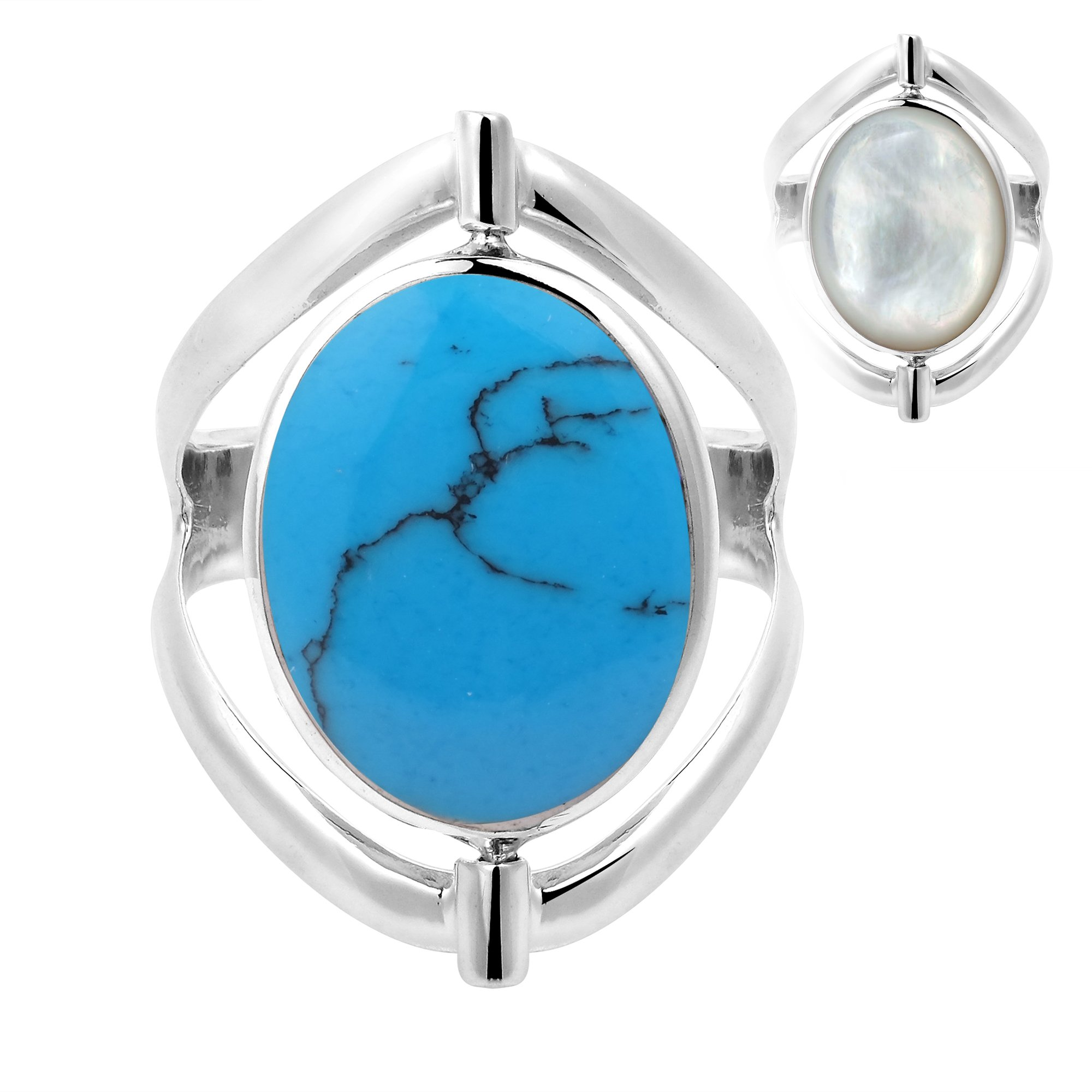 AeraVida Two in One Flip Simulated Turquoise and Mother of Pearl Oval .925 Sterling Silver Ring (7)