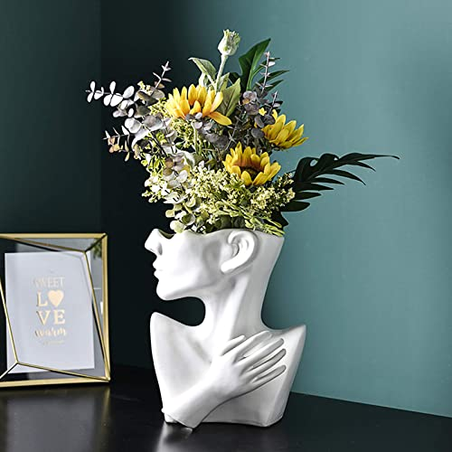 Ibnotuiy Face Flower Vase White Artificial Flowers Vase Bust Head Shaped Statue Pots Cute Modern Home Decor White