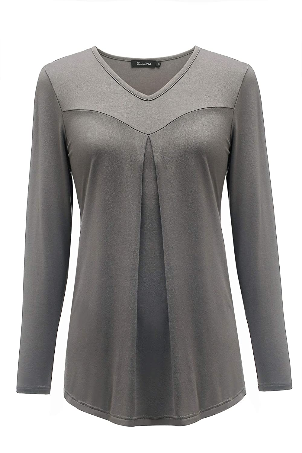Dark Grey SUWIINA Women's Long Sleeve VNeck Pleated Long Top