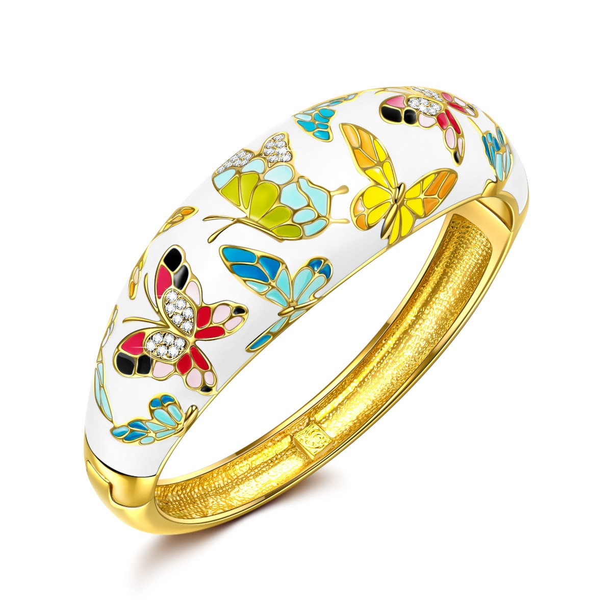 QIANSE Spring of Versailles Yellow Gold Bangle Bracelets Enamel Butterfly Bangles for Women Jewelry for Women Birthday Gifts for Mom Girlfriend Daughter Grandma Mother in Law Present