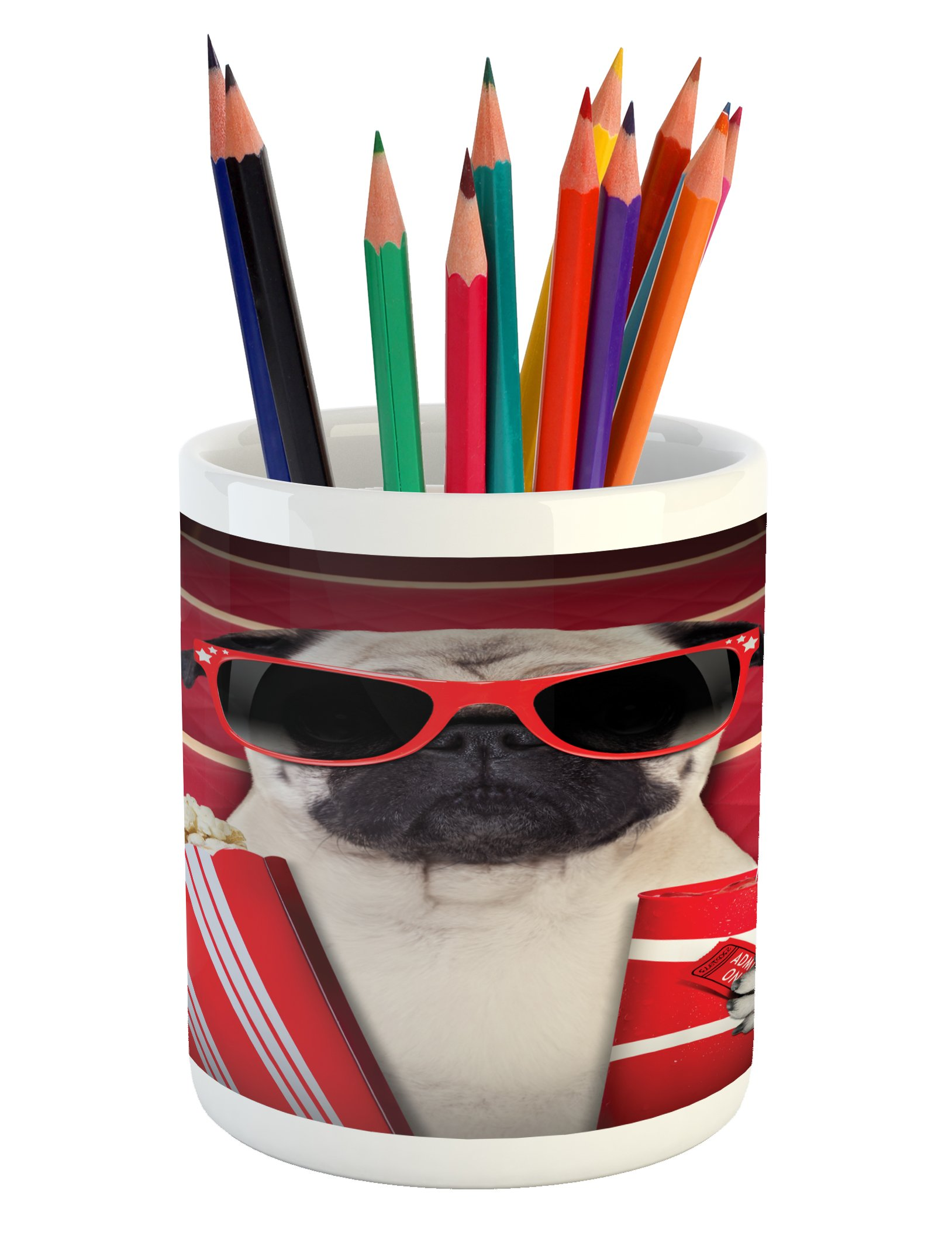 Ambesonne Pug Pencil Pen Holder, Funny Dog Watching Movie Popcorn Soft Drink and Glasses Animal Photograph Print, Printed Ceramic Pencil Pen Holder for Desk Office Accessory, Red Cream Ruby