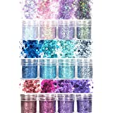 Laza 12 Colors Glitter Nail Art Acrylic Nails Powder Mixed Sequins Iridescent Flakes Ultra-Thin Paillette Sparkles Tips Chunk