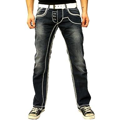 R-Neal Grosor Costura - Pantalones Vaqueros Azul Used Look ...