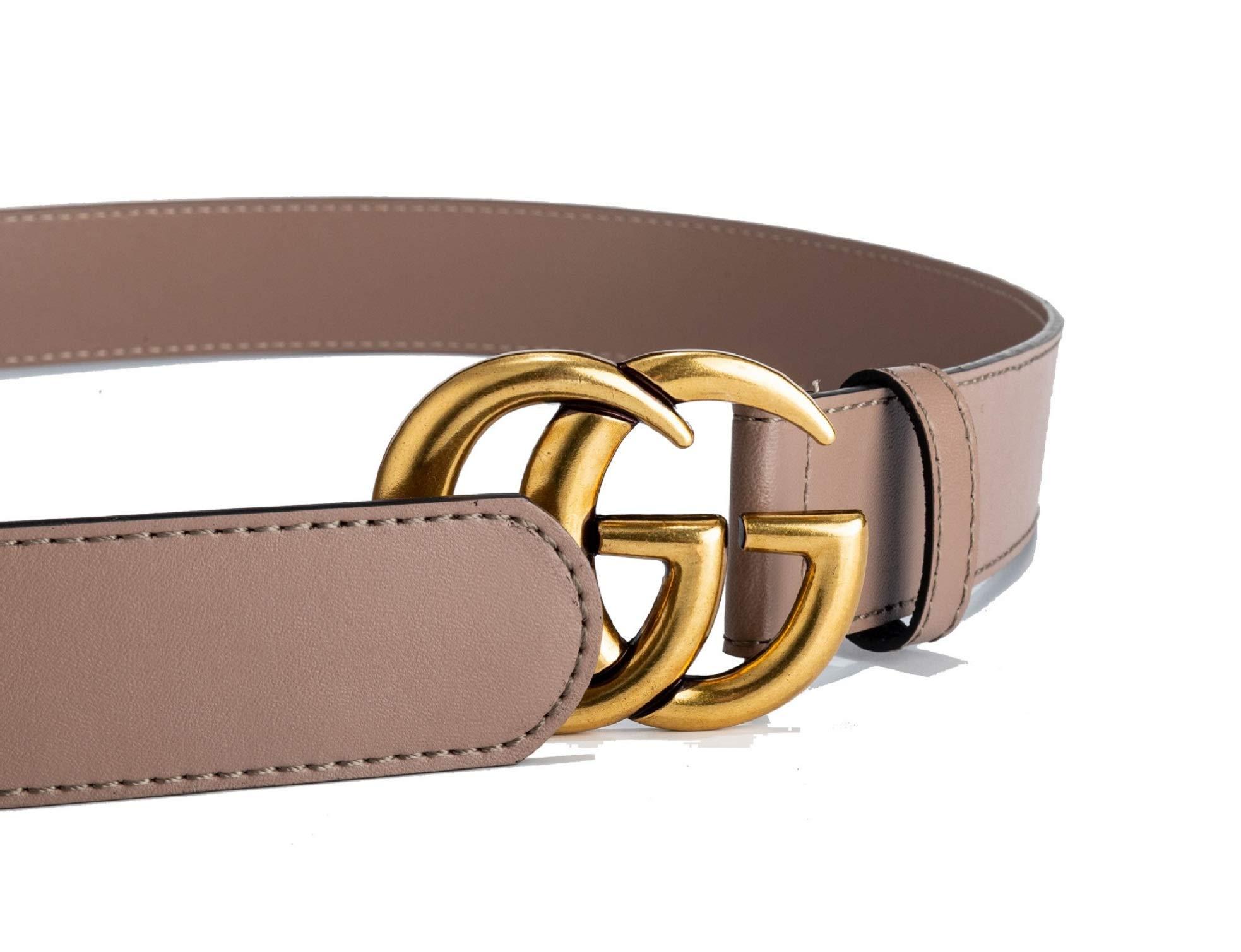 Duobuquhe Luxury Women Coffee Leather GG Belt Fashion Slim Thin Dress Belt for Jeans Vintage Gold Buckle-105cm