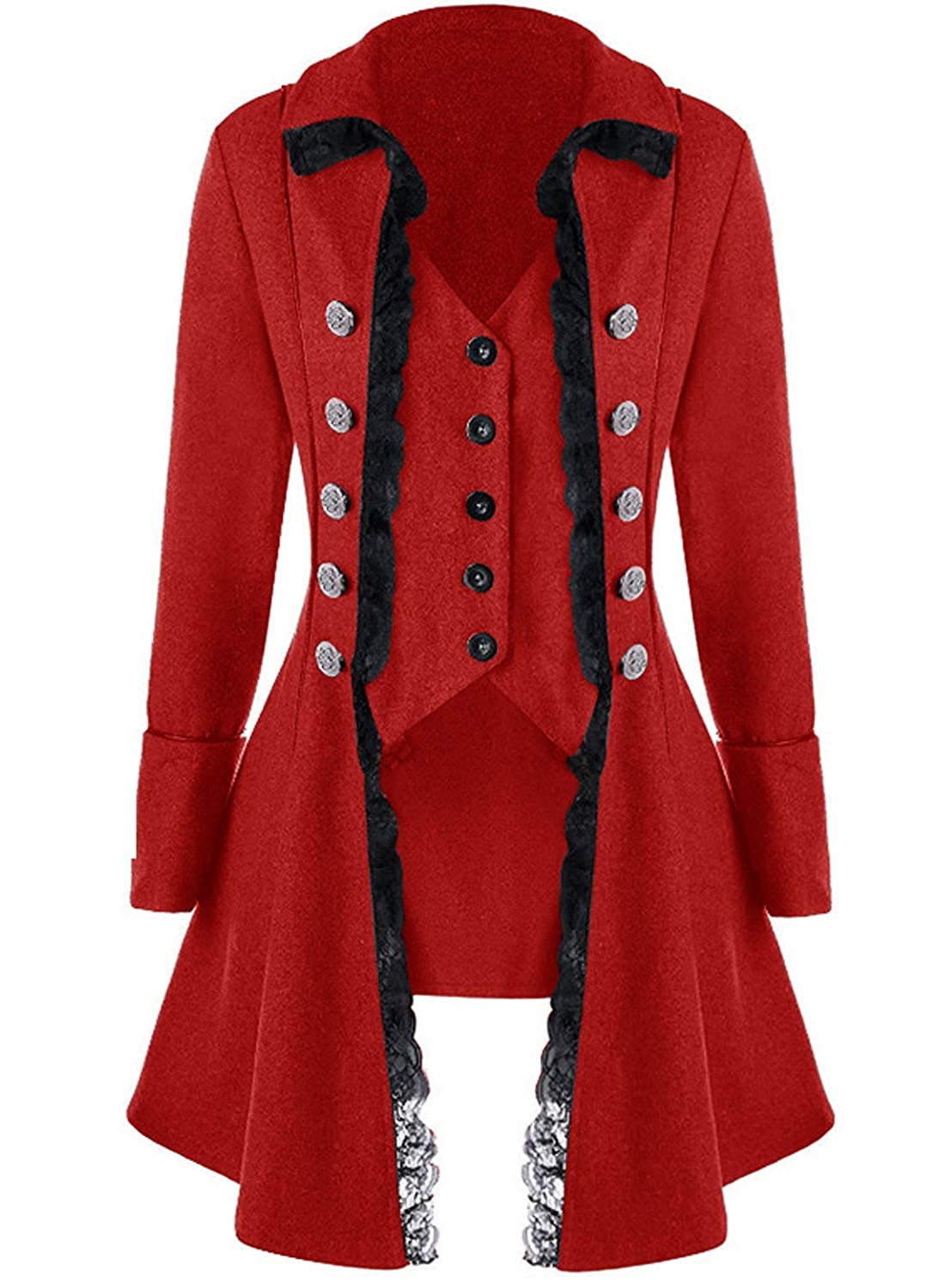 Lady Pirate Fantasy Black Lace Trimmed Tailored Red Pirate Tailcoat - DeluxeAdultCostumes.com