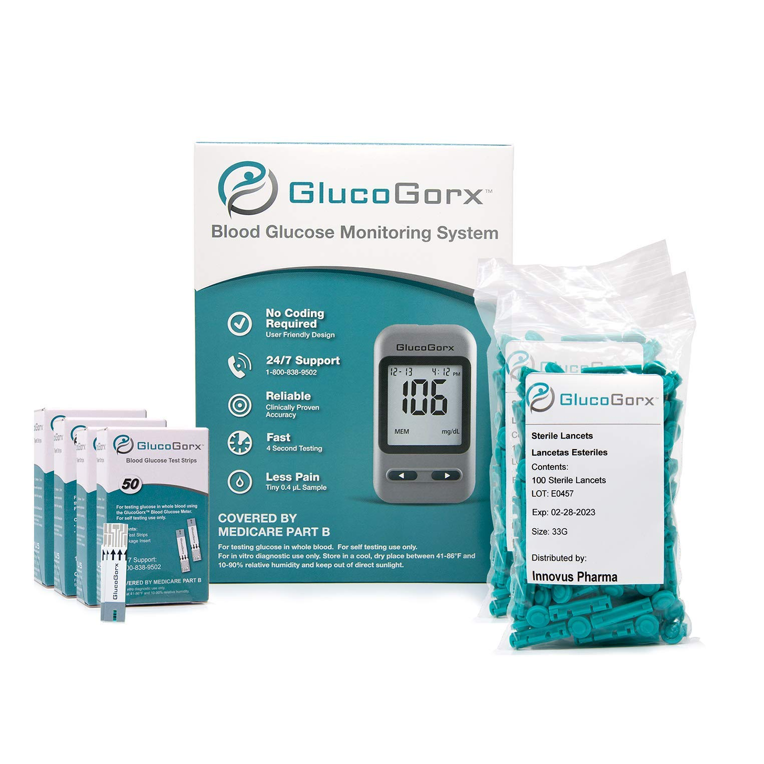 Blood Glucose Diabetes Testing Kit by GlucoGorx - Includes 210 Blood Test Strips, 225 Sterile Lancets, Glucometer, Depth Controlled Lancing Device, Control Solution and User Manual with Carrying Case