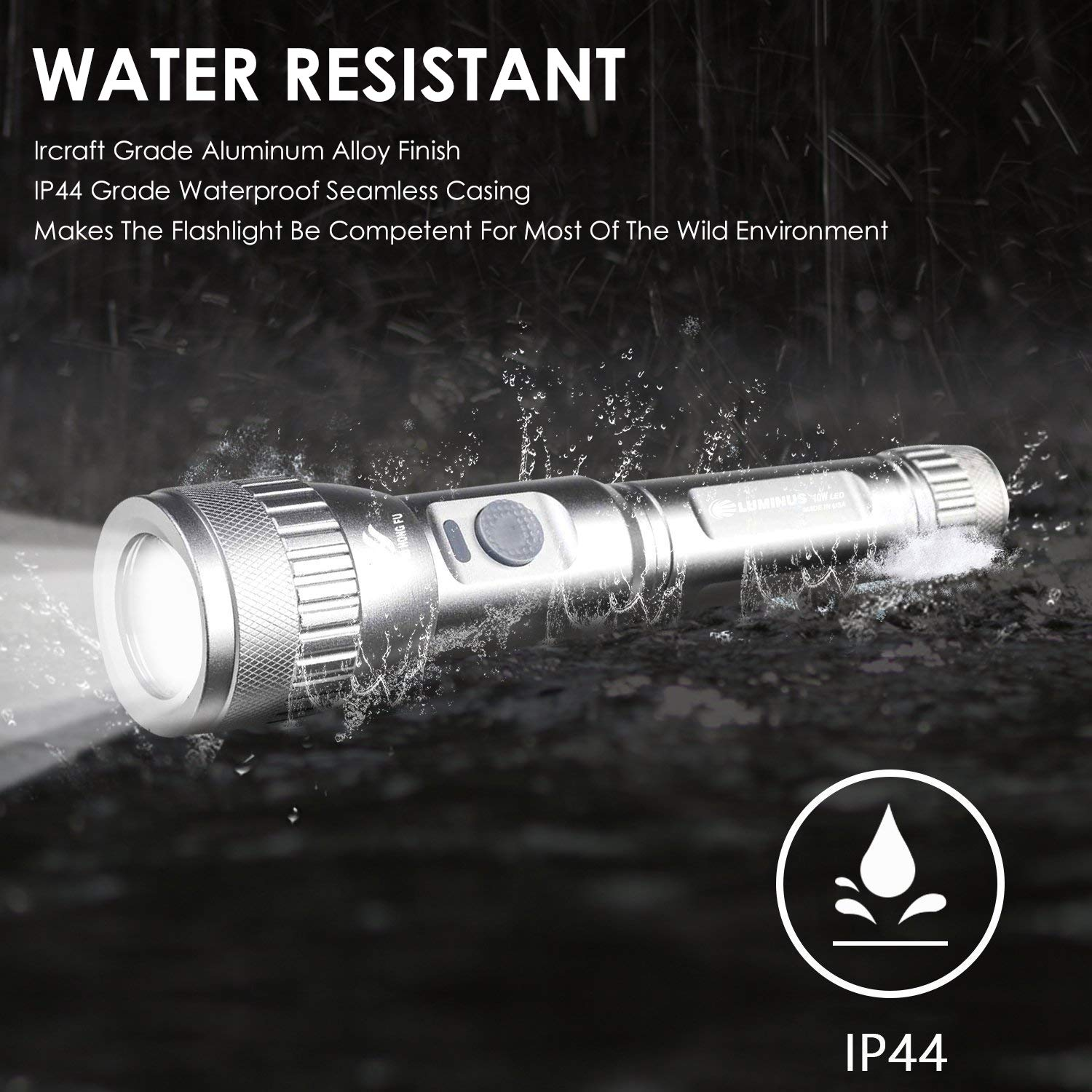 LED Professional Tactical Flashlights - Ultra Bright 500 Lumens Police Military Outdoors Handheld Light Zoomable 5 Modes USB Rechargeable Torch (3 In 1 USB Cable, Car Charger, Li-thium Battery)