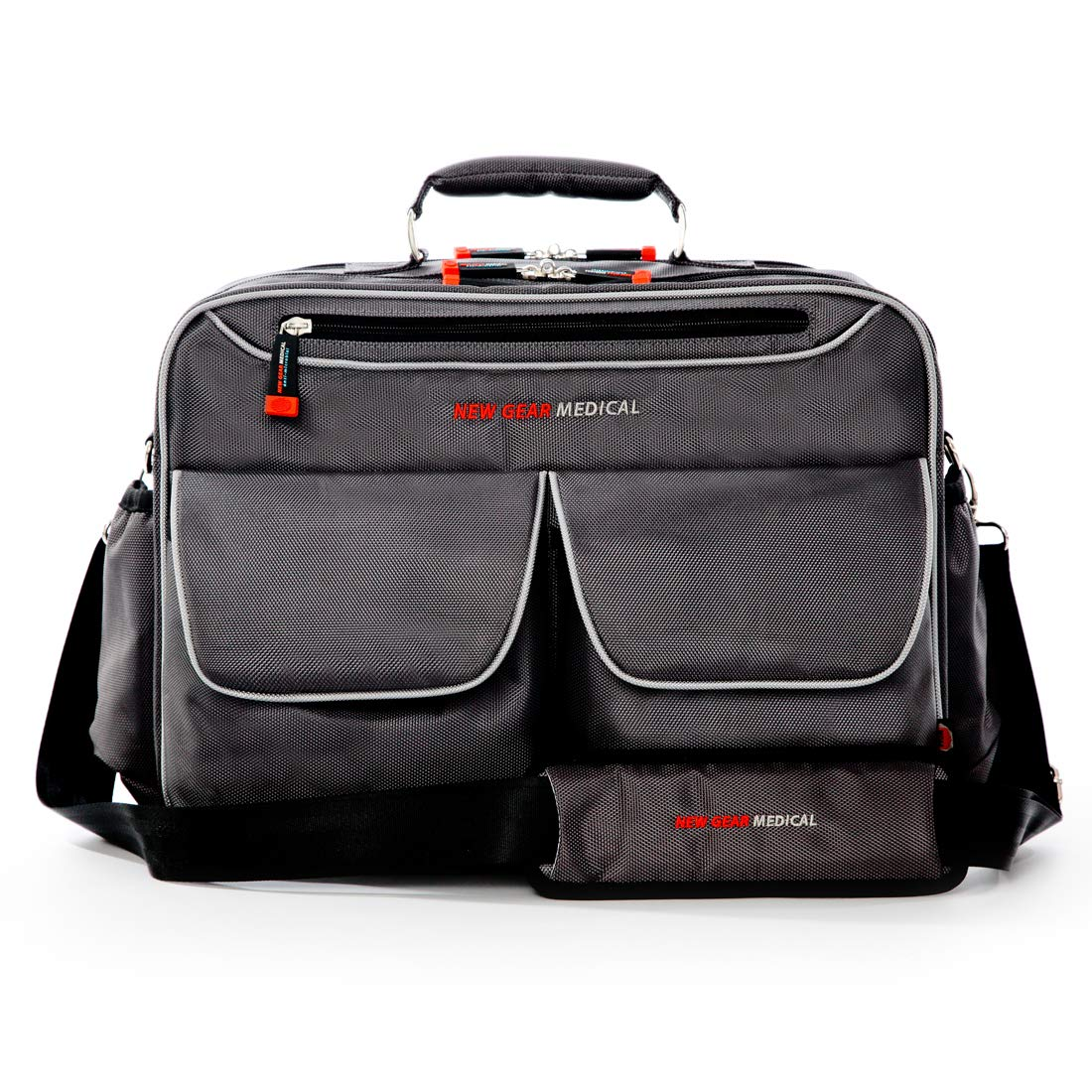 New Gear Medical Antimicrobial Messenger Bag, for Home Health, Nurse, Travel, CNA, and Medical Professionals (Grey)