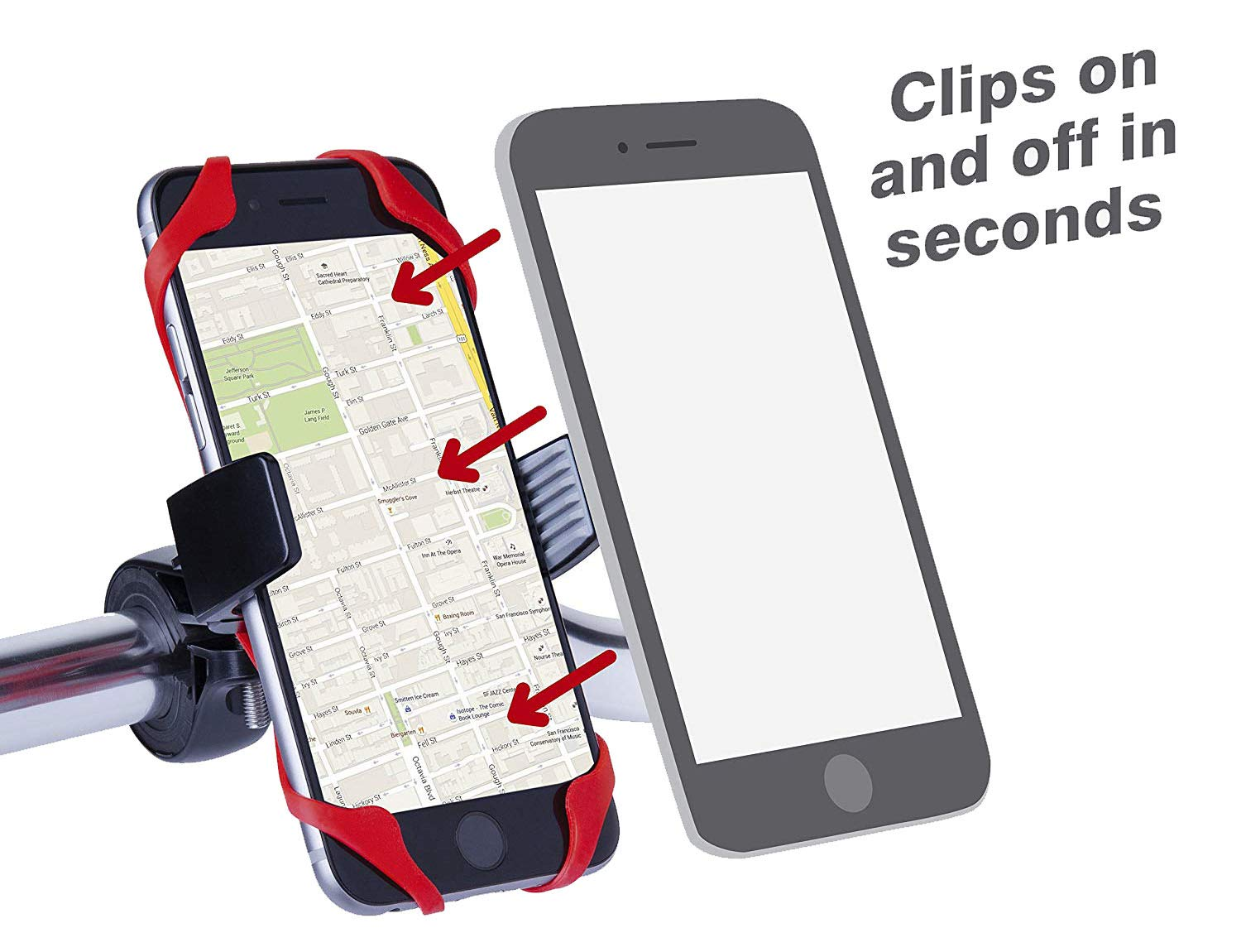 Crazywa Bike Phone Mount for iPhone,Samsung Galaxy,Motorcycle Phone Mount,Phone Holder for Bike,360 Degree Rotatable Cell Phone Mount. Black