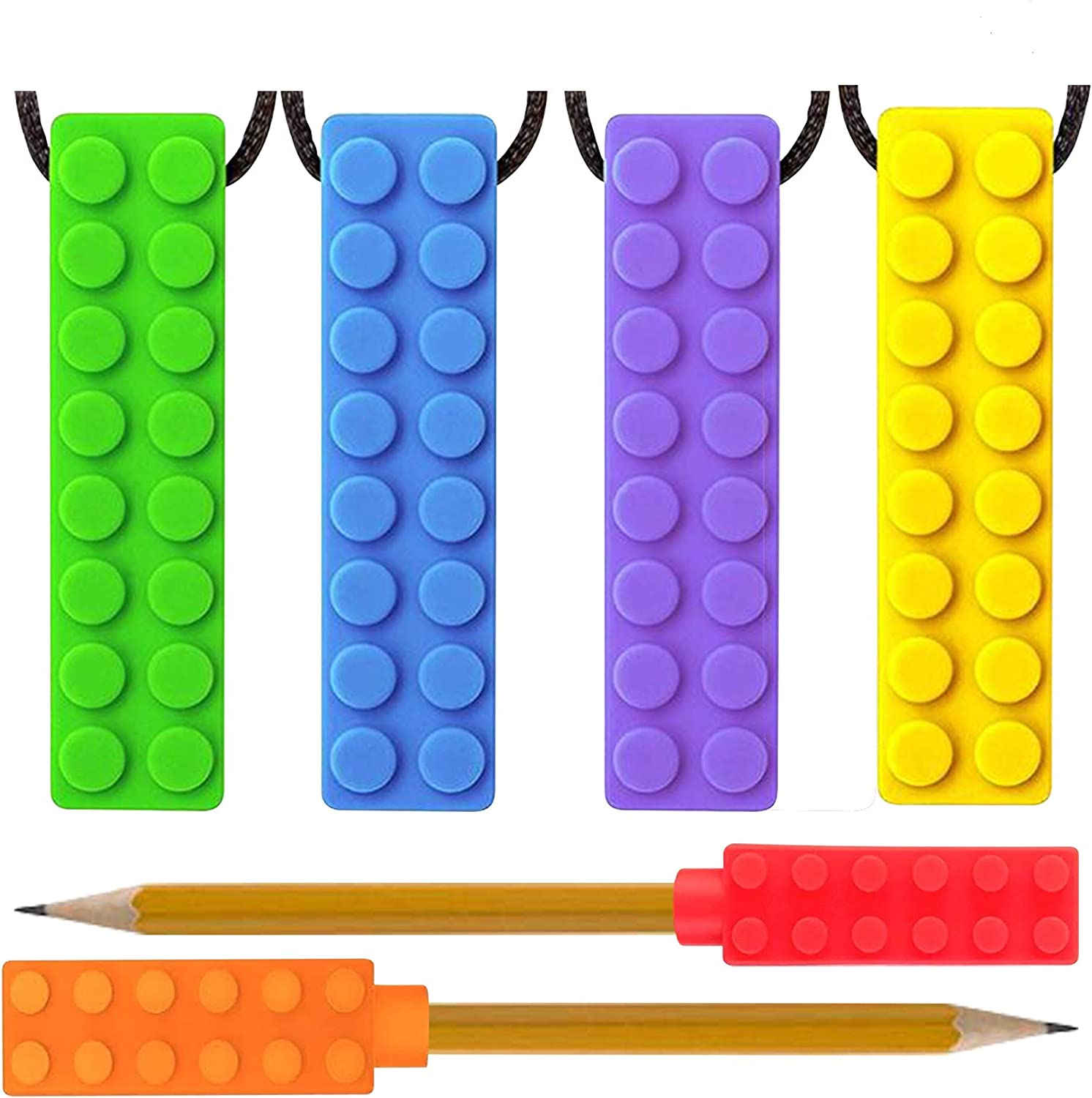 Sensory Chew Necklace for Boys & Girls + Pencil Topper 6pcs - Food Grade Silicone Chewy Brick for Kids with Autism toys, Baby teething necklace, ADHD toys, Fidget toys - Nail Biting Treatment for Kids