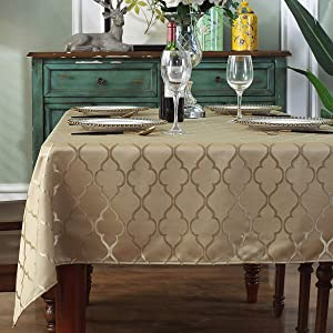 "Jacquard Tablecloth Flower Pattern Polyester Table Cloth Dust-Proof Wrinkle Resistant Soft Table Cover for Kitchen Dinning Tabletop Decoration (Rectangle/Oblong, 52"" x 70"" (4-6 Seats), Gold)"