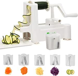 Spiralizer,Premium 5 Blade Zucchini and Vegetable Spiral Slicer,Heavy Duty Suction Base,Guaranteed! Specially made for Vege Based Diets.BONUS e-book,Cleaning Brush, Stainless Steel Blade Storage, Extra Suction cup. SIMPLEJOY. Enjoy Healthy