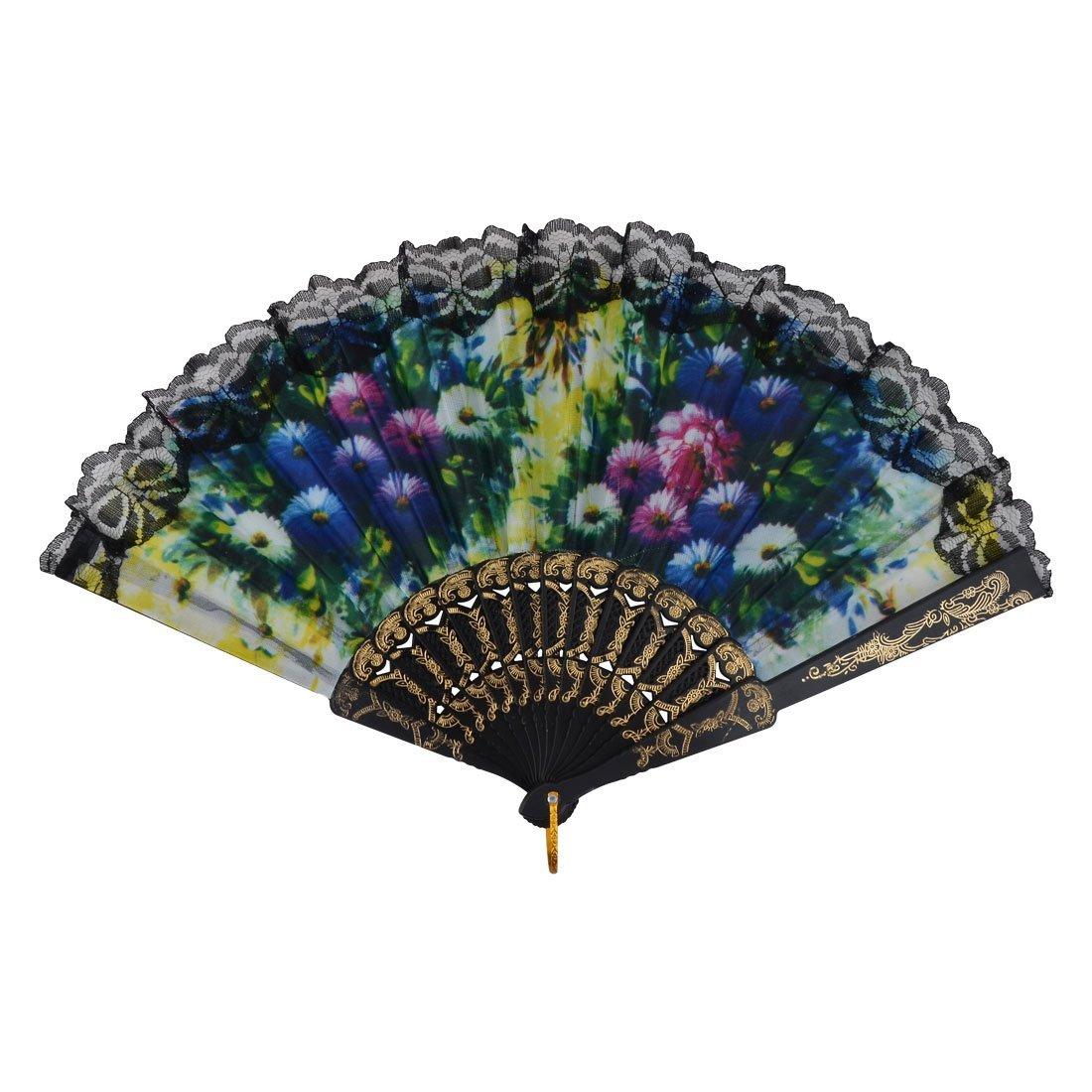 DealMux Lady Plastic Rims Flower Pattern Lace Edge Decor Dance Folding Handheld Fan 10 Pcs