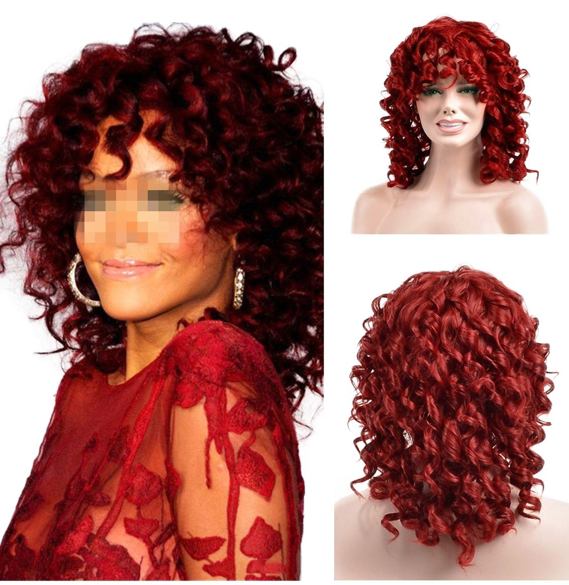 YOURWIGS Fluffy Kinky Short Curly Hair Wigs
