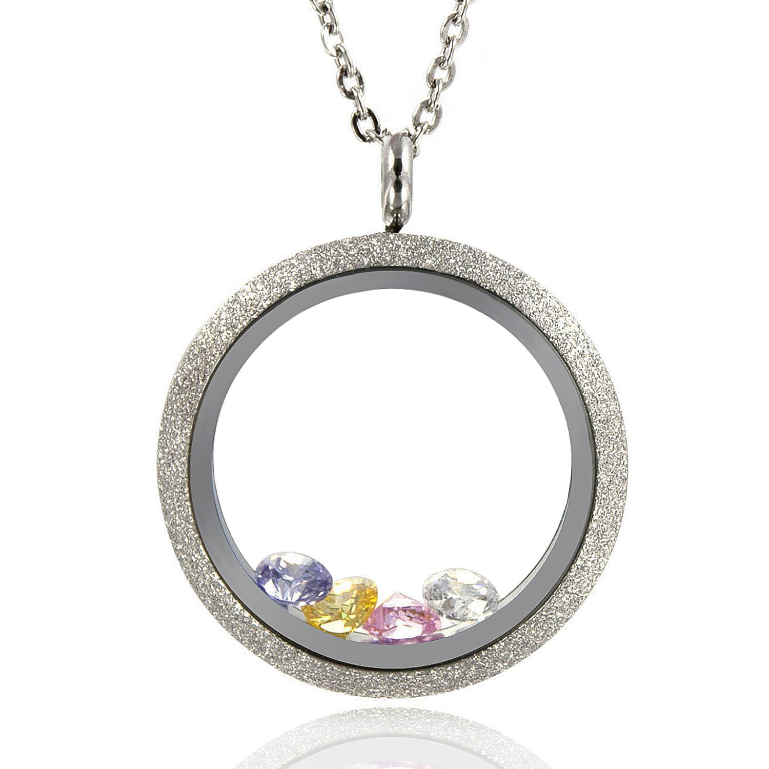 EVERLEAD Sparkle Floating Locket Twist Stainless Steel Waterproof Including Chains and Colorful Zircon Everlead Inc CLP065S25-C011S55