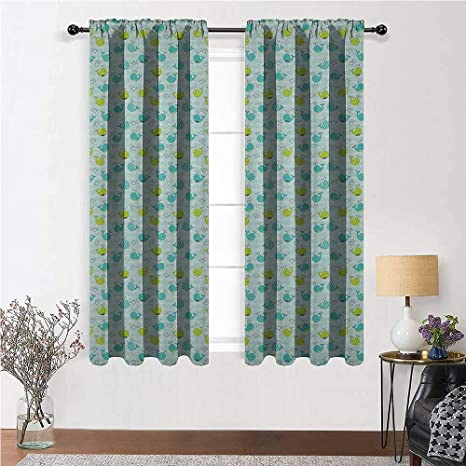 Youxianhome Whale Room Darken Curtains Animals Of The Seas In Polka Dots And Stripes Home Decoration Curtains Lime Green Turquoise Pale Sea Green 48 X 84 Inch 2 Panels Home Kitchen