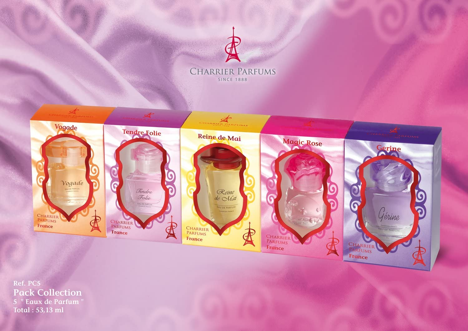 Charrier Parfums Pack Collection Set de 5 estuches de agua de perfume Miniatures total 53,13 ml: Amazon.es: Belleza