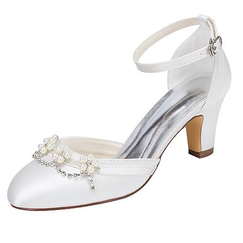 b13ea61e116f Emily Bridal Ivory Bridal Shoes Chunky Heel Round Toe Ankle Strap Pearl  Crystal Wedding Shoes (