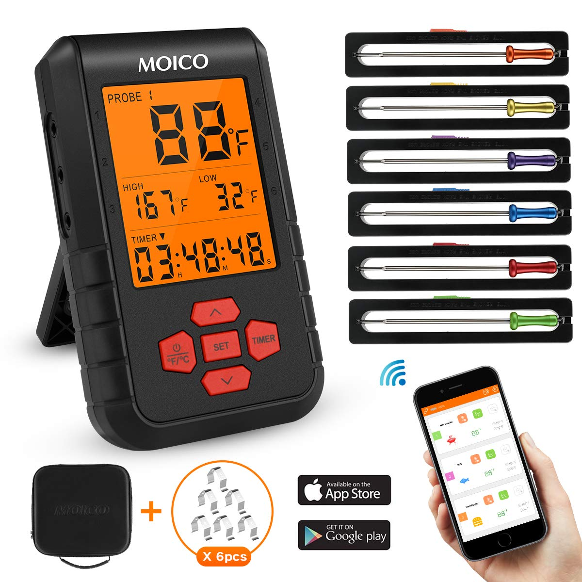 Meat Thermometer,MOICO Wireless digital cooking food thermometer,Two-way control Bluetooth thermometer with 6 Probes for Grilling BBQ Oven - Support IOS & Android,FDA approved (Carrying Case Included) by MOICO