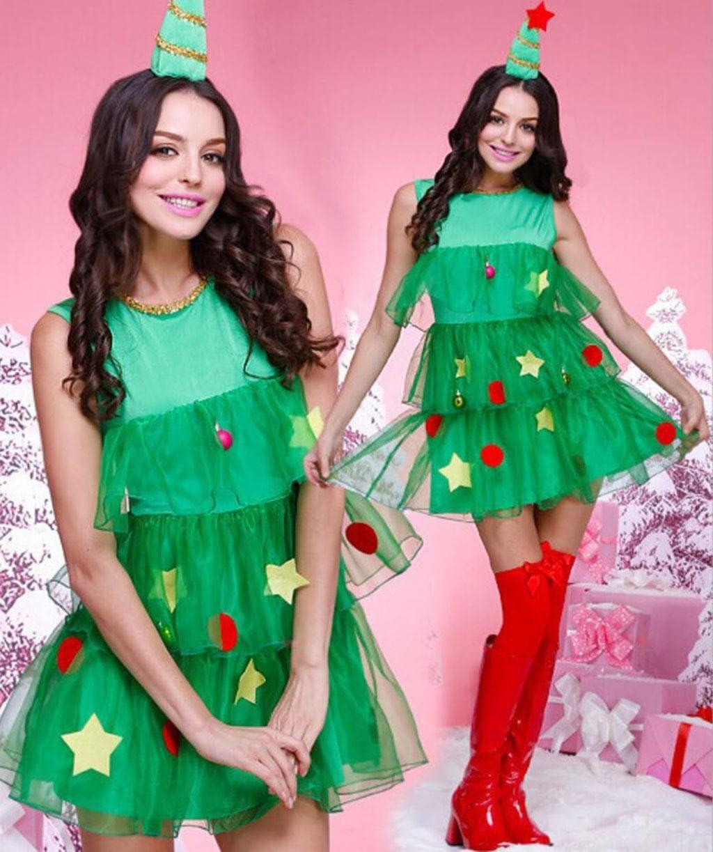 MFFACAI Disfraz de Miss Santa para Mujer Traje de Navidad Árbol de ...