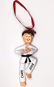 Karate Boy Personalized Christmas Ornament -Brown Hair - Handpainted- Free Customization by Gifts Center Ornament