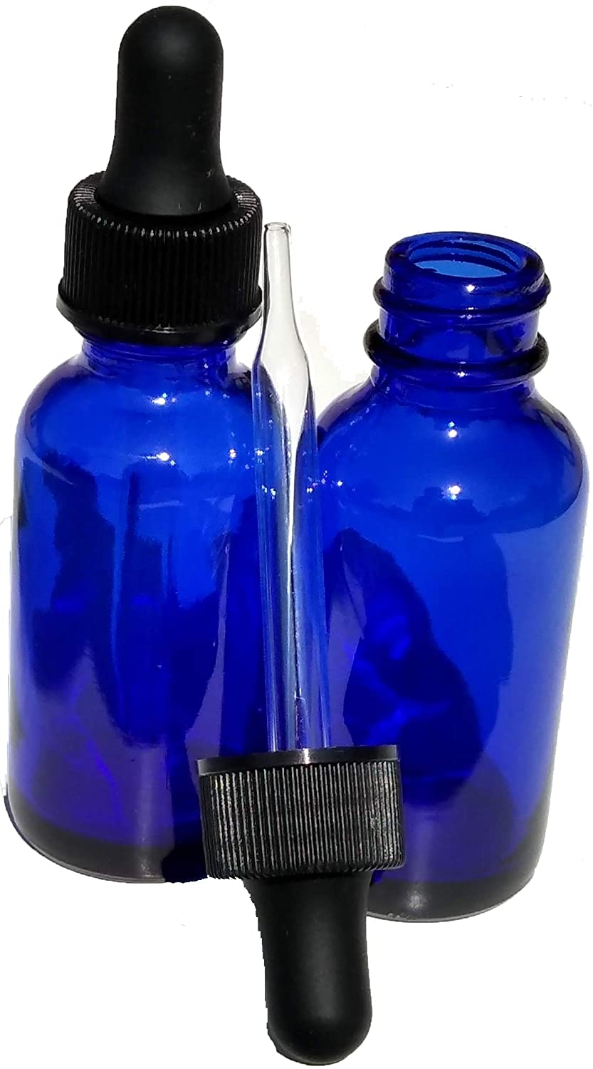 Dropper Stop 1oz Cobalt Blue Glass Dropper Bottles (30mL) with Tapered Glass Droppers - Pack of 2