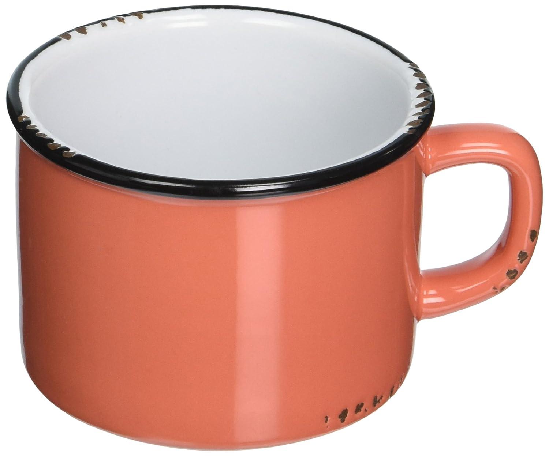 Abbott Collection Enamel Look Stoneware Cappucino Cup, Coral 27-ENAMEL/CAP COR
