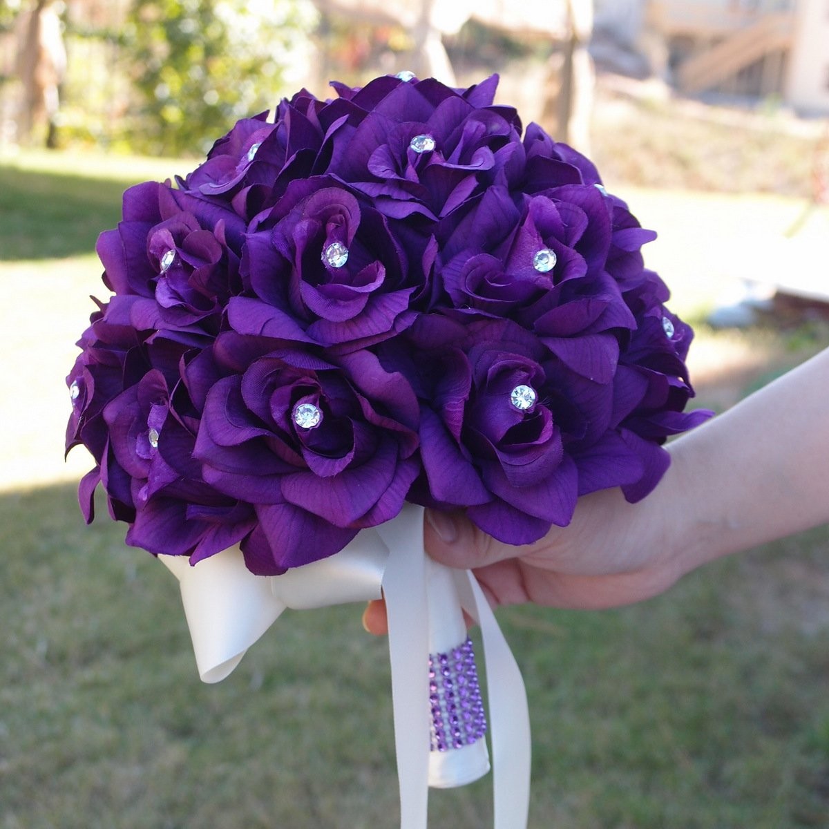 Amazon.com: Purple Roses Bridal Wedding Bouquet with Ivory Stain ...