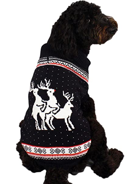 reindeer threesome naughty dog christmas sweater in navy ugly christmas sweater x large - Large Dog Christmas Sweaters