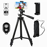 Tefeng, TF-3120, Tripod For Camera With Bluetooth Remote And Adapter For iPhone Samsung And More Smartphones -Noir
