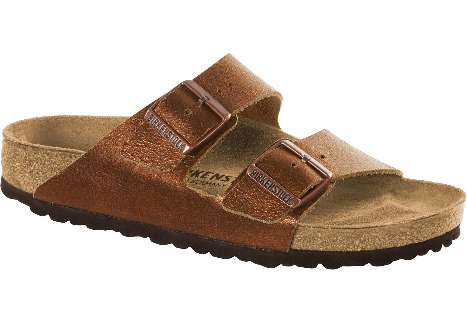 Birkenstock Arizona - Pantuflas de Cuero Mujer 37 EU|Marrón (Washed Metallic Antique Copper Washed Metallic Antique Copper)