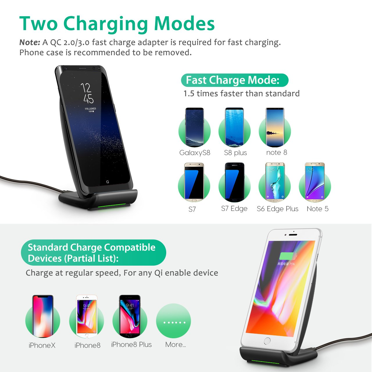 PICTEK Fast Wireless Charging Stand with Cooling Fan Qi Wireless Charger for iPhone X 8 8 Plus Samsung Galaxy S9 S9 Plus// S8 S8 Plus// Note 8// S7 S7 Edge// S6 Edge Plus// Note 5 and All Qi-enabled Devices No AC Adapter Wireless Charger