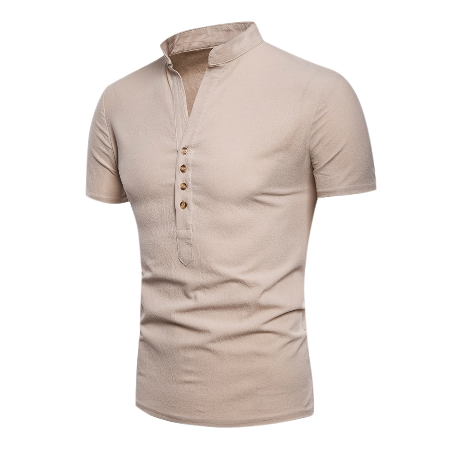 Katesid Mens Summer Solid Color Casual Fit Button Down Shirts Short Sleeve Henley Shirts Dress Shirt