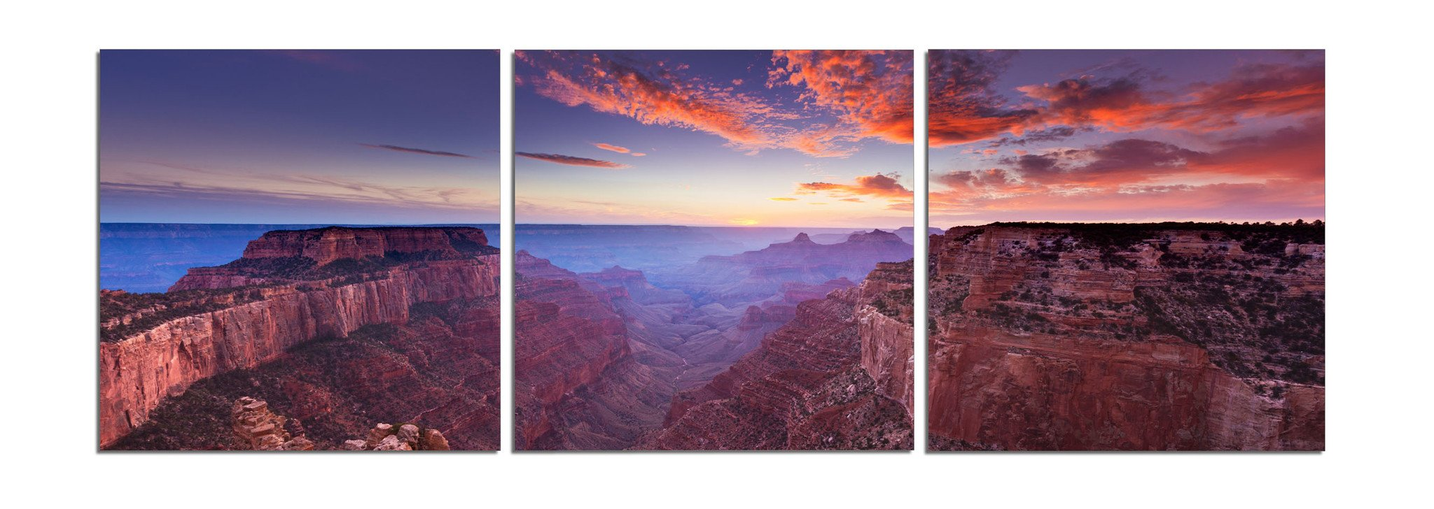 Elementem: Big Photography Prints - Canvas 3 Frame Art: Grand Canyon at Sunset - 5 Feet Wide 3 20 x 20 in. Wall Decor Triptych in Purple, Brown (Office, Home, Living, Dining Room Decor)