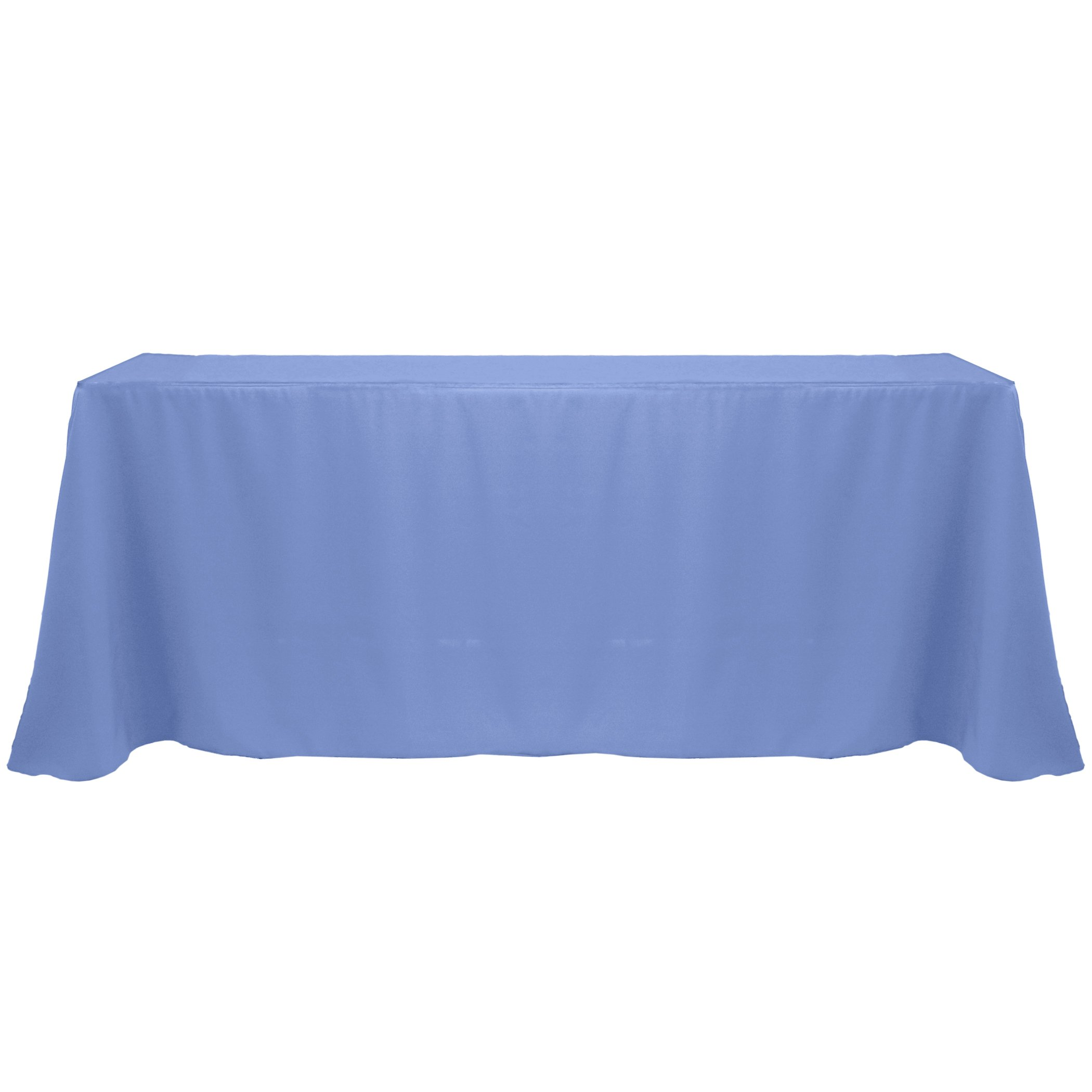 Ultimate Textile (3 Pack) 90 x 156-Inch Rectangular Polyester Linen Tablecloth with Rounded Corners - for Wedding, Restaurant or Banquet use, Periwinkle Blue