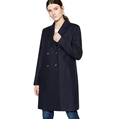 1d05829a0a8 Debenhams The Collection Womens Navy Double Breasted Coat with Wool  The  Collection  Amazon.co.uk  Clothing