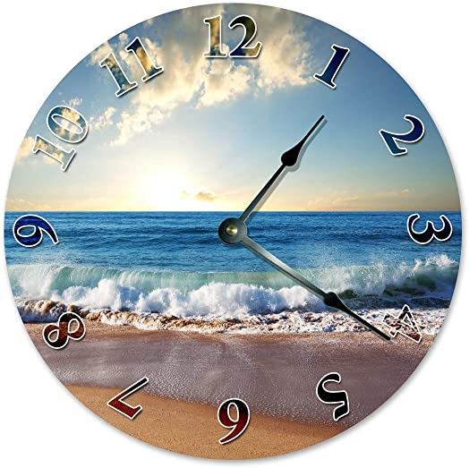 Sugar Vine Art Crashing Wave ON Shore Unique Clock Large 10.5 Wall Clock Decorative Round Wall Clock Home Decor Ocean Shore