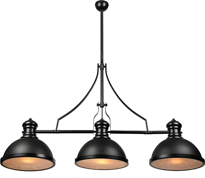 Baycheer Industrial Retro Vintage Style Three Light Pool Table Light Linear Island Chandelier Pendant Light Lampe With 35 43 Inch Length Chain In Black Finish Use E26 27 Bulb Amazon Com