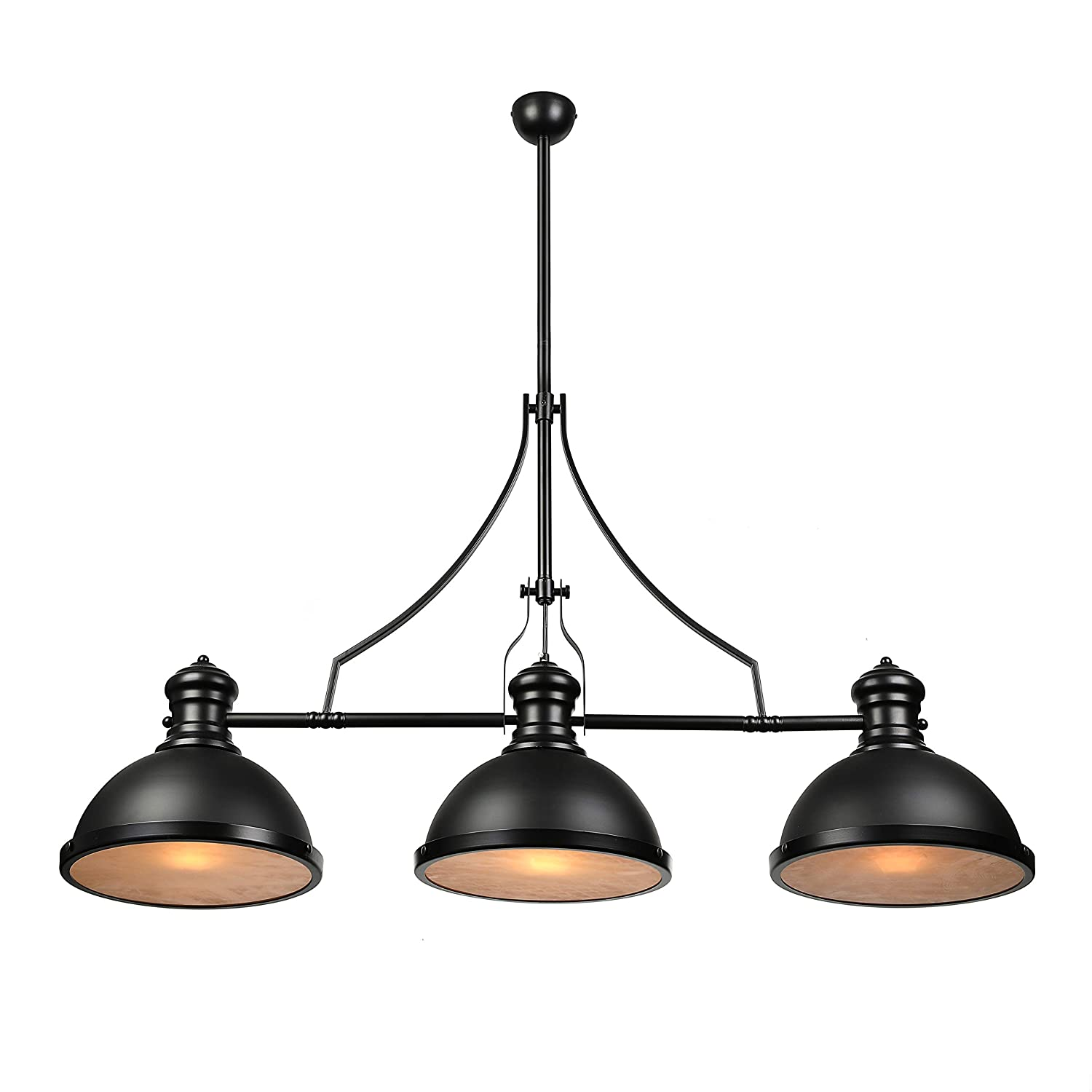 Baycheer industrial retro vintage style three light pool table light linear island chandelier pendant light lampe with 35 43 inch length chain in black