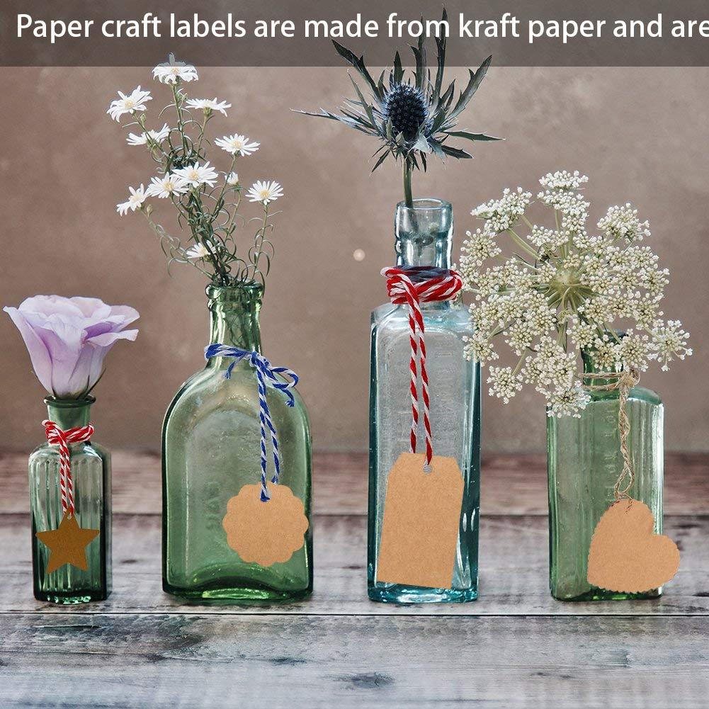 Carta Phenovo Kraft 400pcs Label Scheda Vuota Dono Tag Fai Da Te Flower Star Cuore Rettangolo Rotondo Etichetta regalo con iuta spago per bomboniere Marrone