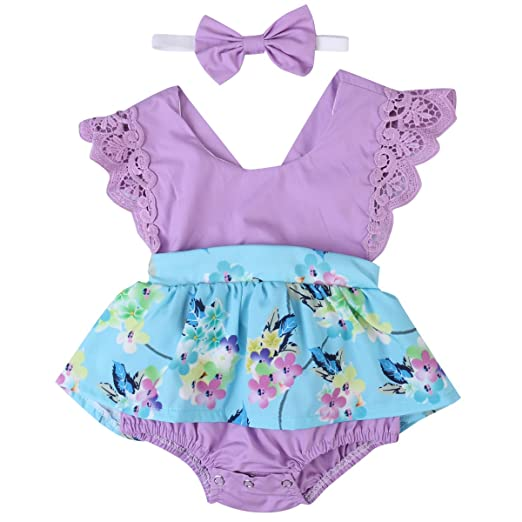 d75ebb384a23 Emmababy Baby Girl Clothes Floral Cotton Romper Skirt Bodysuit Jumpsuit  Outfit Dress with Headband (0