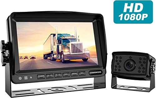 Fookoo HD Backup Camera System Kit,7 1080P Reversing Monitor IP69 Waterproof Rear View Camera,Sharp CCD Chip, 100 Not Wash Up,Truck Semi-Trailer Box Truck RV FHD1-Wired