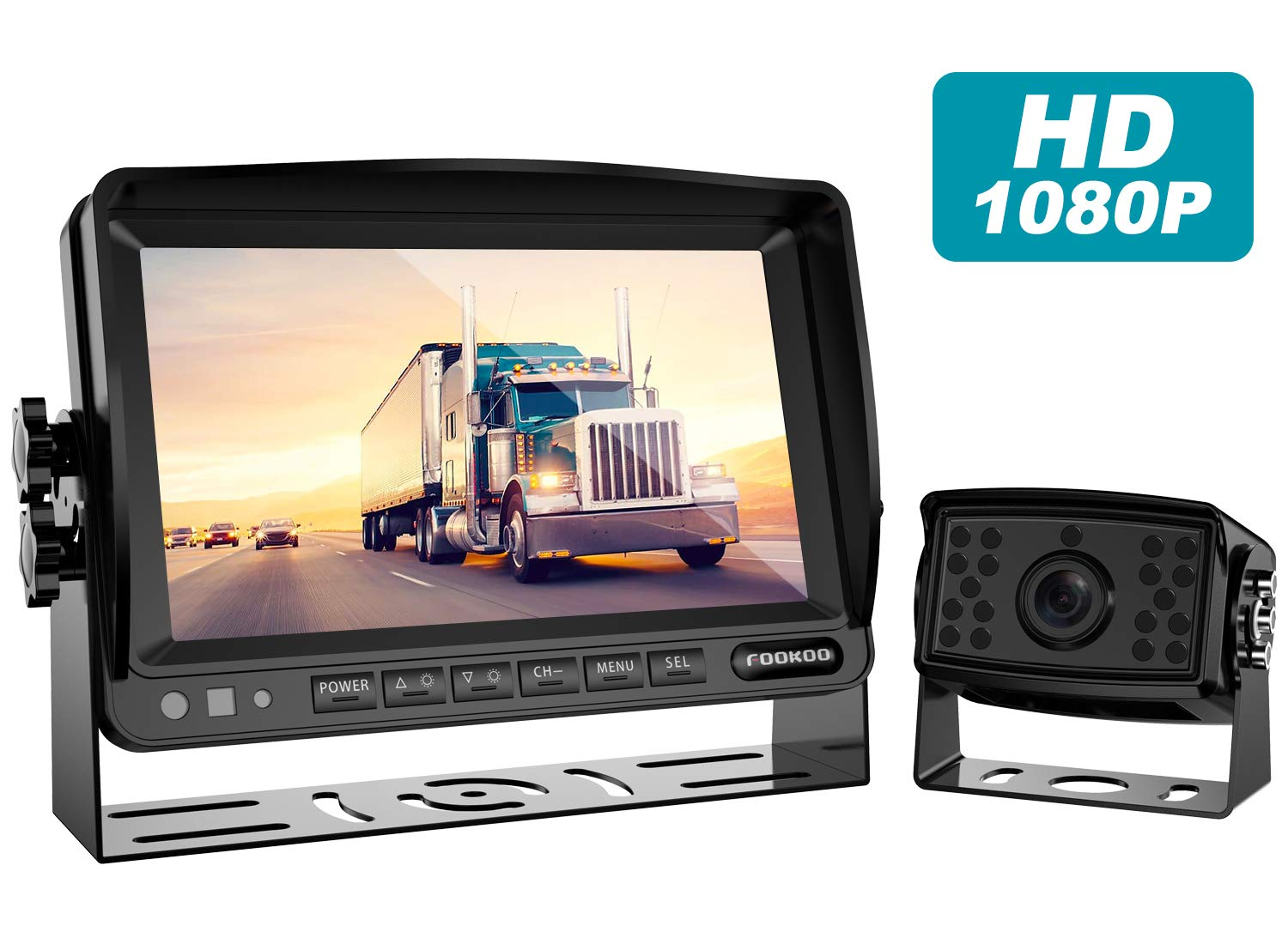 Fookoo Ⅱ HD Backup Camera System Kit,7''1080P Reversing Monitor+IP69 Waterproof Rear View Camera,Sharp CCD Chip, 100% Not Wash Up,Truck/Semi-Trailer/Box Truck/RV (FHD1-Wired) by Fookoo